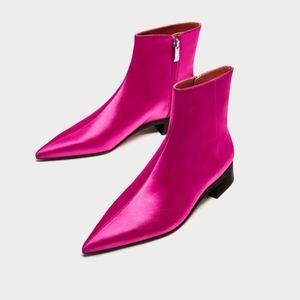 Zara Fuchsia Pink Pointed Toe Satin Ankle Boots